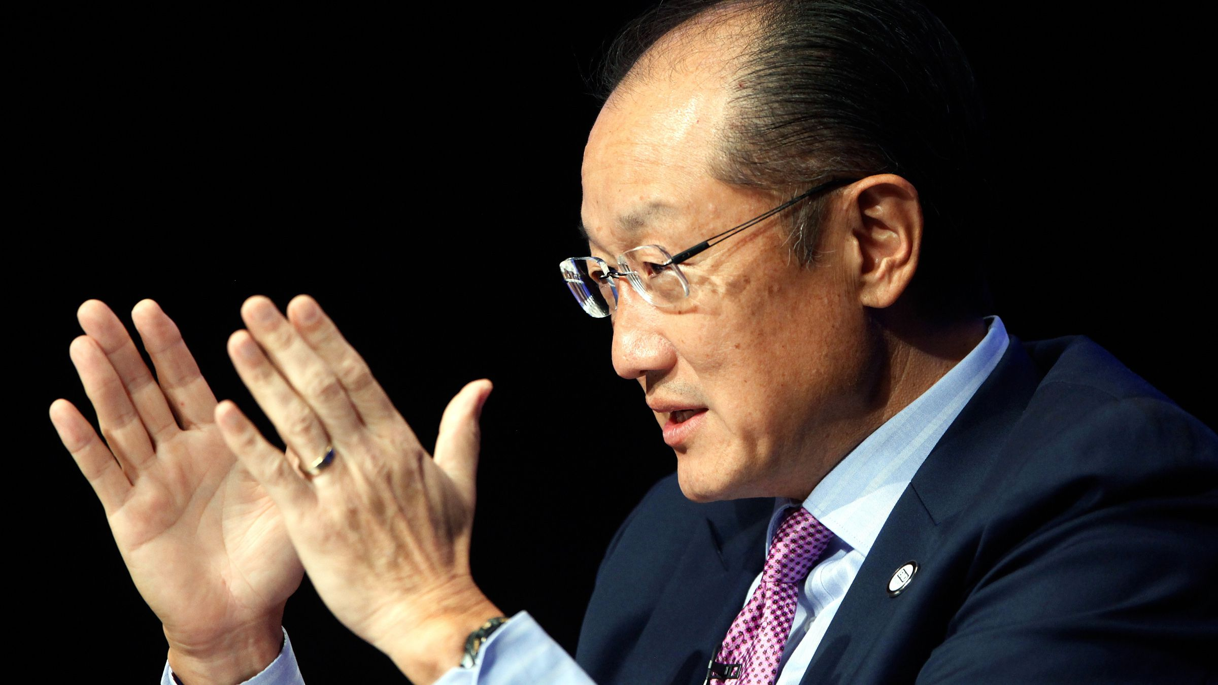"""World Bank President Jim Yong Kim speaks on a panel titled """"Building Shared Prosperity in an Unequal World"""" during the IMF-World Bank annual meetings in Washington October 8, 2014."""