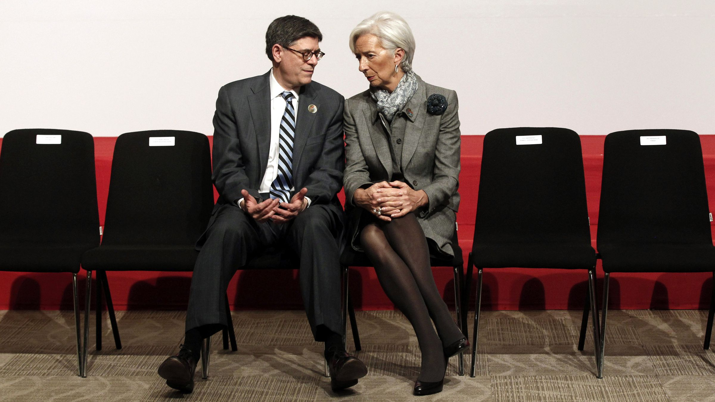U.S. Treasury Secretary Jack Lew (L) talks with International Monetary Fund (IMF) Managing Director Christine Lagarde after a family photo during the G20 finance ministers and central bank governors meeting in Istanbul February 10, 2015.