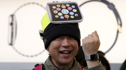 man with apple watch hat