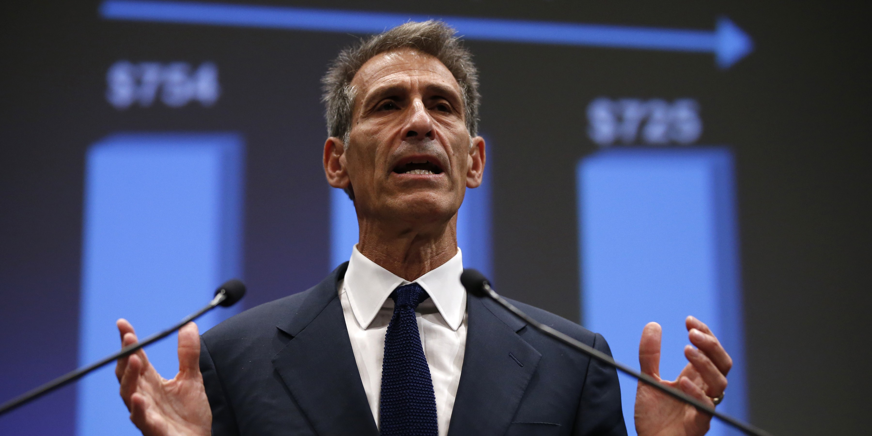 Michael Lynton, CEO Sony Entertainment and CEO and chairman Sony Pictures Entertainment, speaks during an investors' conference at the company's headquarters in Tokyo November 18, 2014. Japan's Sony Corp said it is aiming to garner up to $11 billion in revenue from its movie business in three years time, a 36 percent increase over levels forecast for the current financial year. REUTERS/Toru Hanai