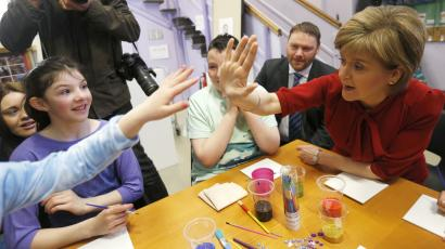 Scotland's First Minister Nicola Sturgeon campaigns at Loanhead After School Club.