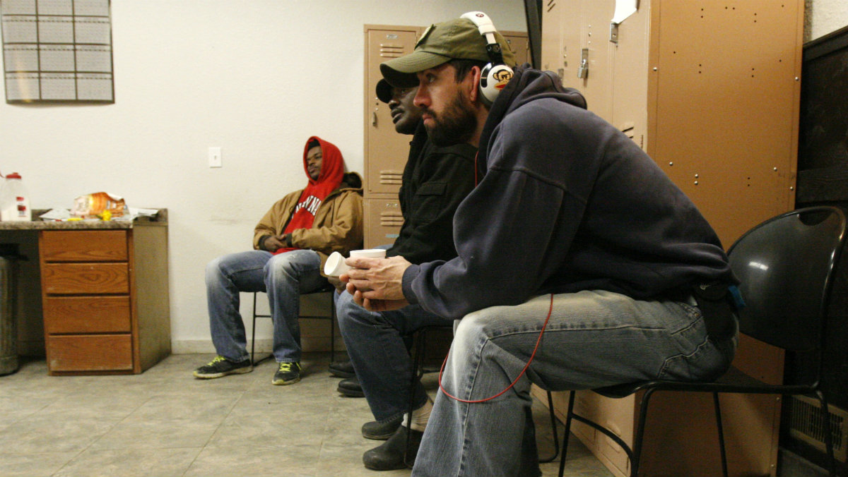 Workers, some who've been laid off or can't find jobs in the oil industry, wait for temporary assignments at the Command Center temporary staffing agency in Williston, North Dakota.