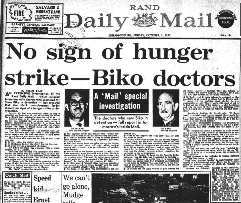 Ultimately Concluding That The Black Consciousness Leader Showed No Signs Of Hunger Strike Or Dehydration Zille Was Inundated With Death Threats