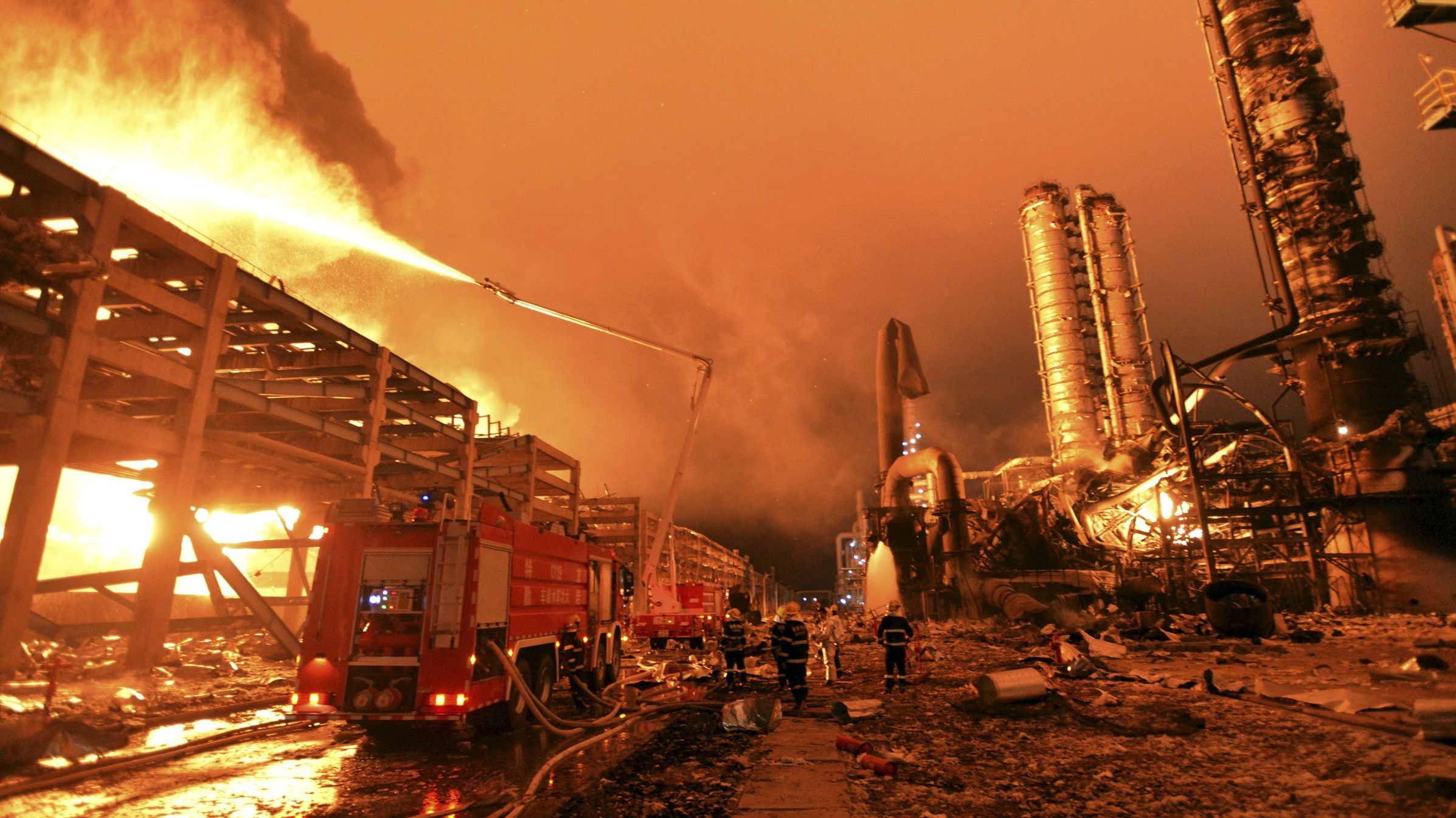 Firefighters at the site of a chemical plant explosion in Zhangzhou, in China's Fujian province.