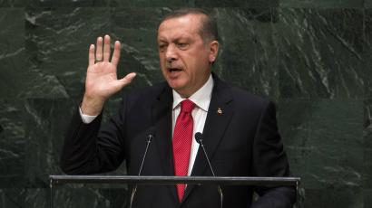 Turkey's President Recep Tayyip Erdogan addresses the 69th United Nations General Assembly at the UN headquarters in New York.