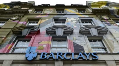 A branch of Barclays bank is seen in central London.