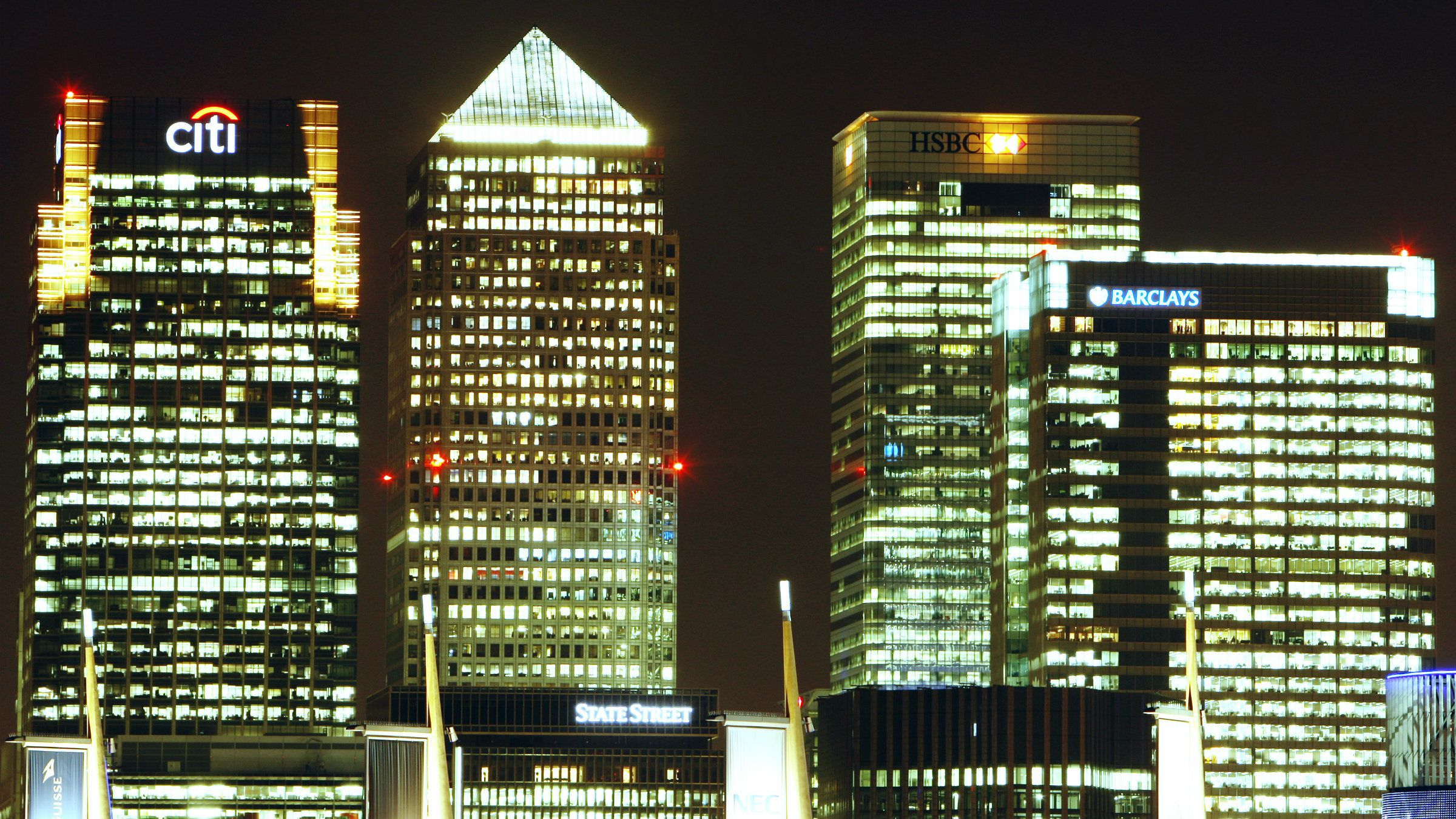 The Canary Wharf business district of London.