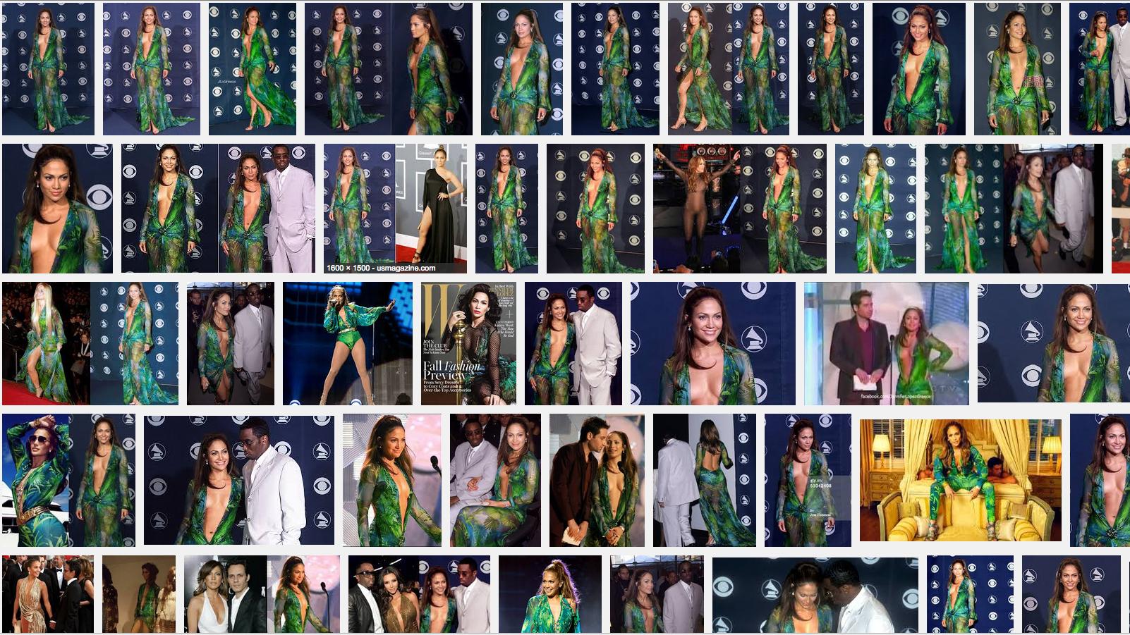A Google image search of Jennifer Lopez's Grammy Awards dress
