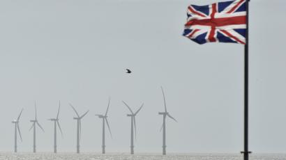 An off-shore wind farm is seen in the English Channel near Clacton-on-Sea in south east England August 29, 2014.