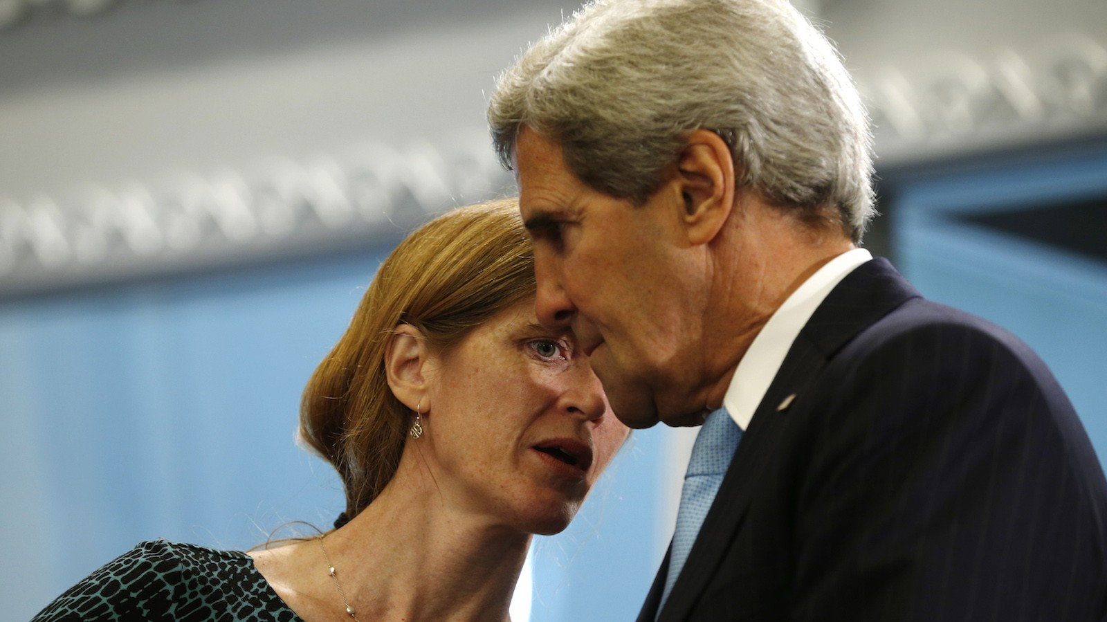 U.S. Ambassador to the United Nations Samantha Power (L) whispers to U.S. Secretary of State John Kerry during a meeting between U.S. President Barack Obama and Lebanon's President Michel Sleiman at the United Nations General Assembly in New York September 24, 2013.