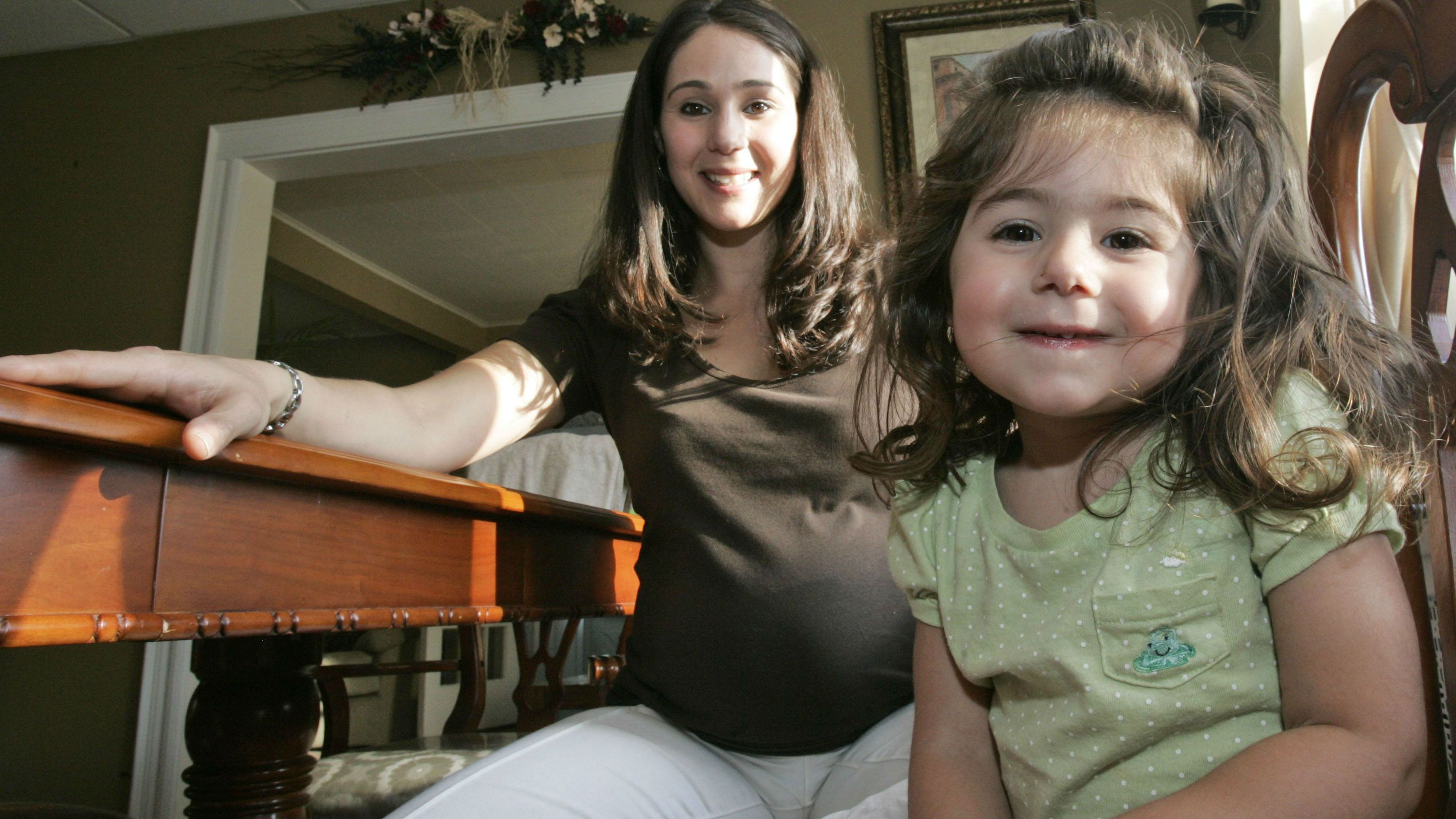 Michelle Cangemi, a Type 1 diabetic who is 7 months pregnant with her second child, poses for a portrait with her daughter Marissa, 3, Thursday, Jan. 24, 2008 in Lynbrook, N.Y. The number of pregnant women with pre-existing diabetes has more than doubled in seven years, a California study found, a troubling trend that means health risks for both mothers and newborns. (AP Photo/Frank Franklin II)