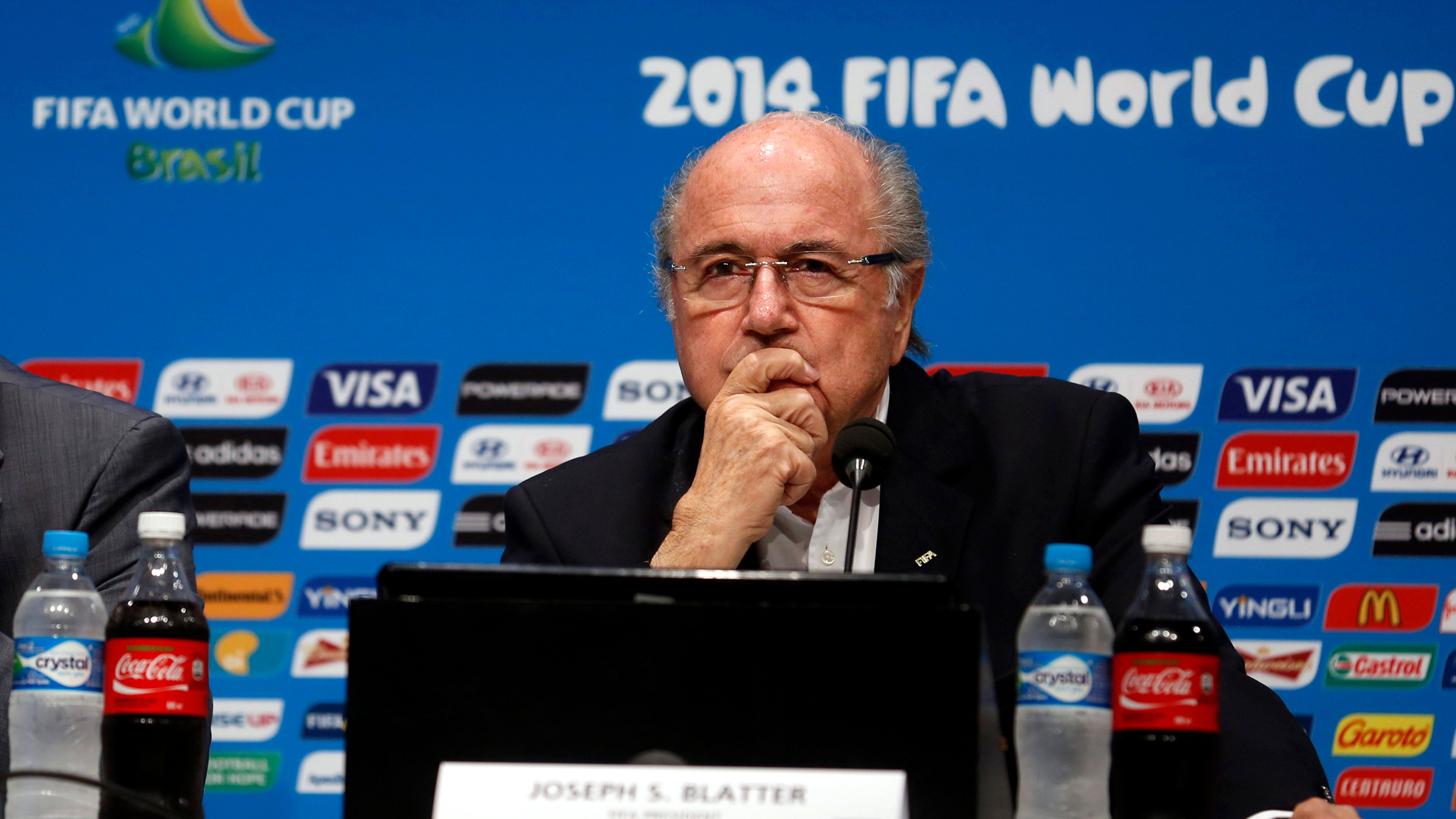 FIFA President Sepp Blatter (R) and Secretary General Jerome Valcke attend a news conference at the Maracana stadium in Rio de Janeiro July 14, 2014. Blatter gave the World Cup in Brazil 9.25 marks out of 10 on Monday, the day after the tournament ended with Germany beating Argentina 1-0 after extra time in the final.