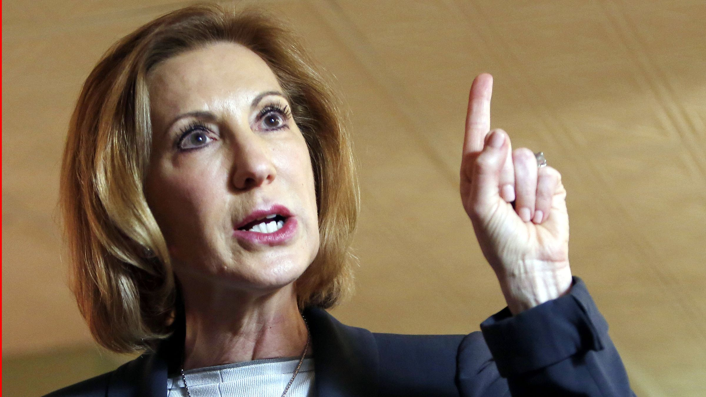 FILE - In this April 28, 2015 file photo, former Hewlett-Packard CEO Carly Fiorina speaks during a business luncheon at the Barley House with New Hampshire Republican lawmakers, in Concord, N.H. Former technology executive Carly Fiorina formally entered the 2016 presidential race on Monday, launching a Republican White House bid in a morning interview that highlighted her role as a leading critic of Democratic contender Hillary Rodham Clinton.