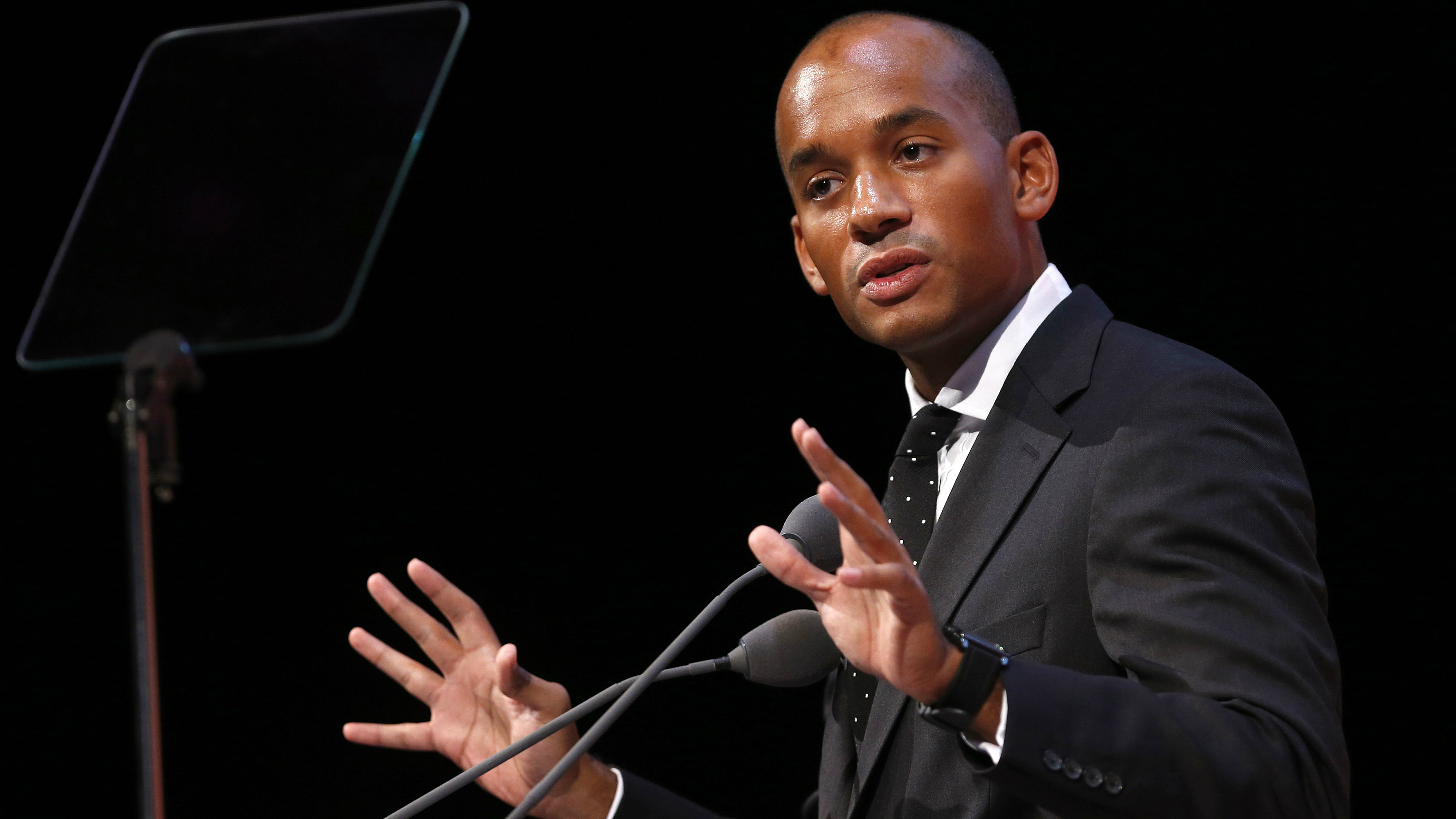 Britain's opposition Labour Party Business Secretary Chuka Umunna speaks at the Institute of Directors annual convention in London September 18, 2013. REUTERS/Suzanne Plunkett (BRITAIN - Tags: BUSINESS POLITICS)
