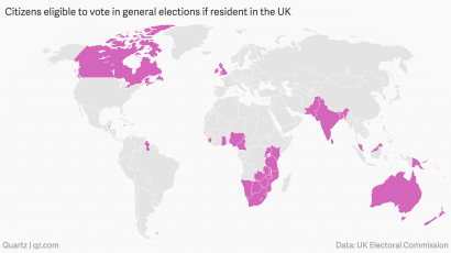 Map Of Uk Votes 2015.Some 4 Million Non Brits Can Vote In The Uk Election Quartz