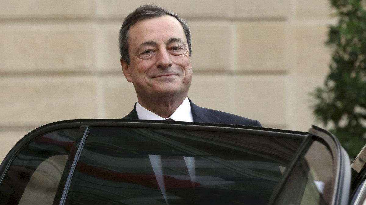 European Central Bank (ECB) President Mario Draghi leaves the Elysee Palace in Paris, after a 2013 meeting with French President Francois Hollande.
