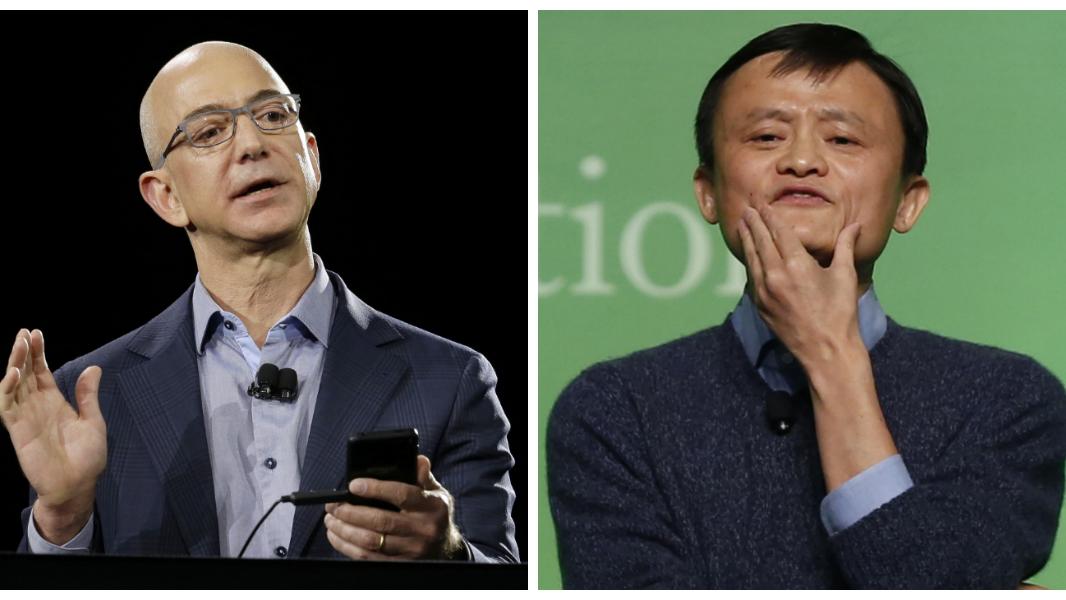 Amazon CEO Jeff Bezos and Alibaba Group executive chairman Jack Ma