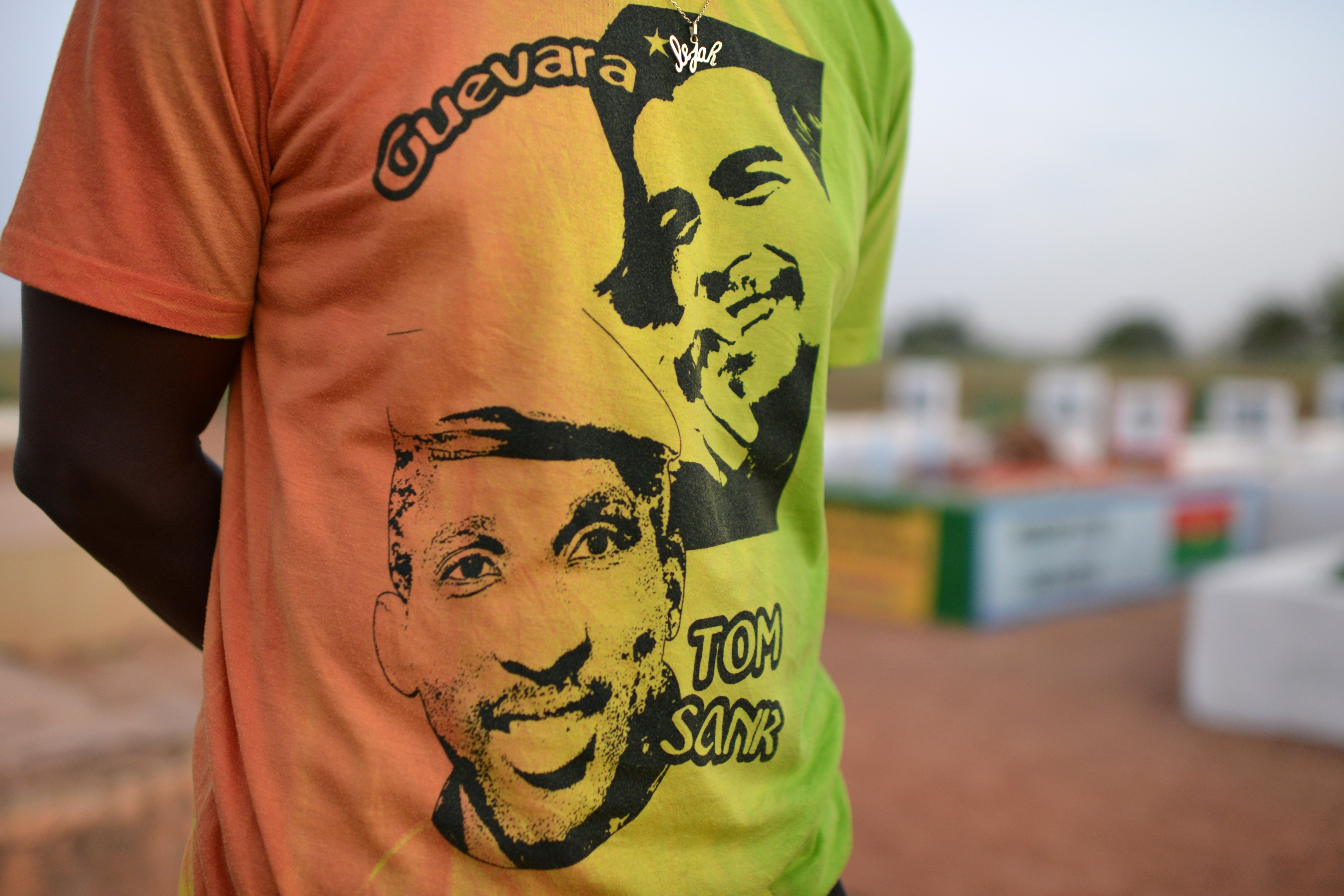 Reggae artist Karim Sama, known as Sams'K Le Jah, wears a t-shirt showing Thomas Sankara (1949-1987), the father of the Burkinabe revolution and former president who was killed in Ouagadougou 27 years ago