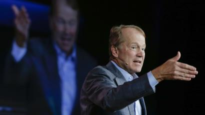 Cisco chairman and CEO John Chambers speaks delivers a keynote address at the International Consumer Electronics Show, Tuesday, Jan. 7, 2014, in Las Vegas. (AP Photo/Julie Jacobson)