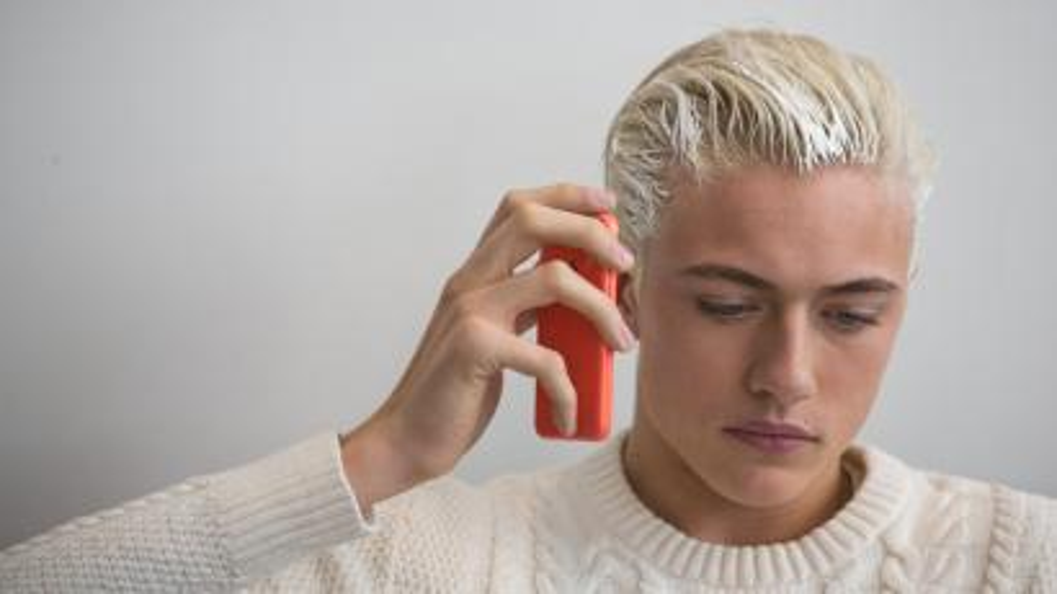 model talking on phone