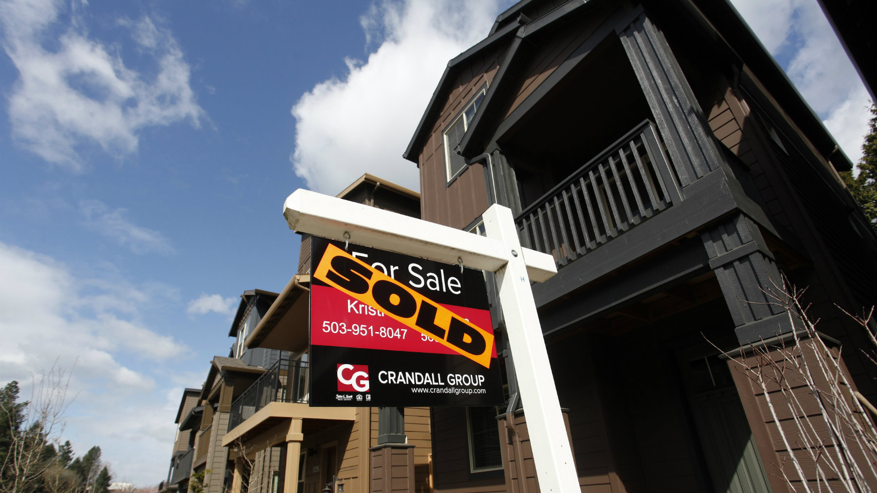 Sold homes are seen in the southwest area of Portland, Oregon.