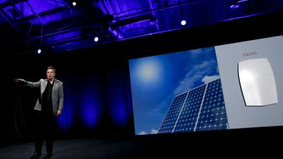 Tesla Motors CEO Elon Musk reveals the Tesla Energy Powerwall Home Battery during an event in Hawthorne, California April 30, 2015.
