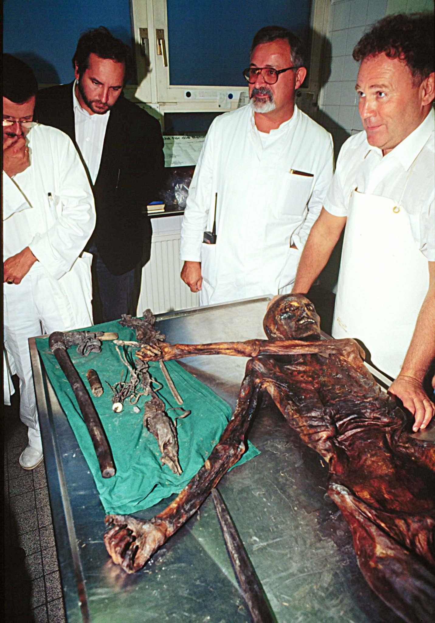 The 5,000-year-old body of a hunter discovered in 1991 by German hikers on the Similaun glacier at a 3,000 meters altitude (10,000 feet), on the Italian side of the Alps, and taken to the Austrian town of Innsbruck, where it's actually preserved. Seven years after it's recover authorities have decided that the Bronze Age mummy will be brought back to the Italian town of Bolzano Friday, January 16 1998, where a special museum has been built for it. (AP Photo) Innsbruck,Austria, Sep 24--Frozen Body--Scientists of the Institute of Early History at the University of Innsbruck, started to study the frozen well-preserved body, that was found by tourists in the Austrian Alps. First estimates said, the corpse is between 3.500 and 4.000 years. (PE/str/s.n.s.) 1991