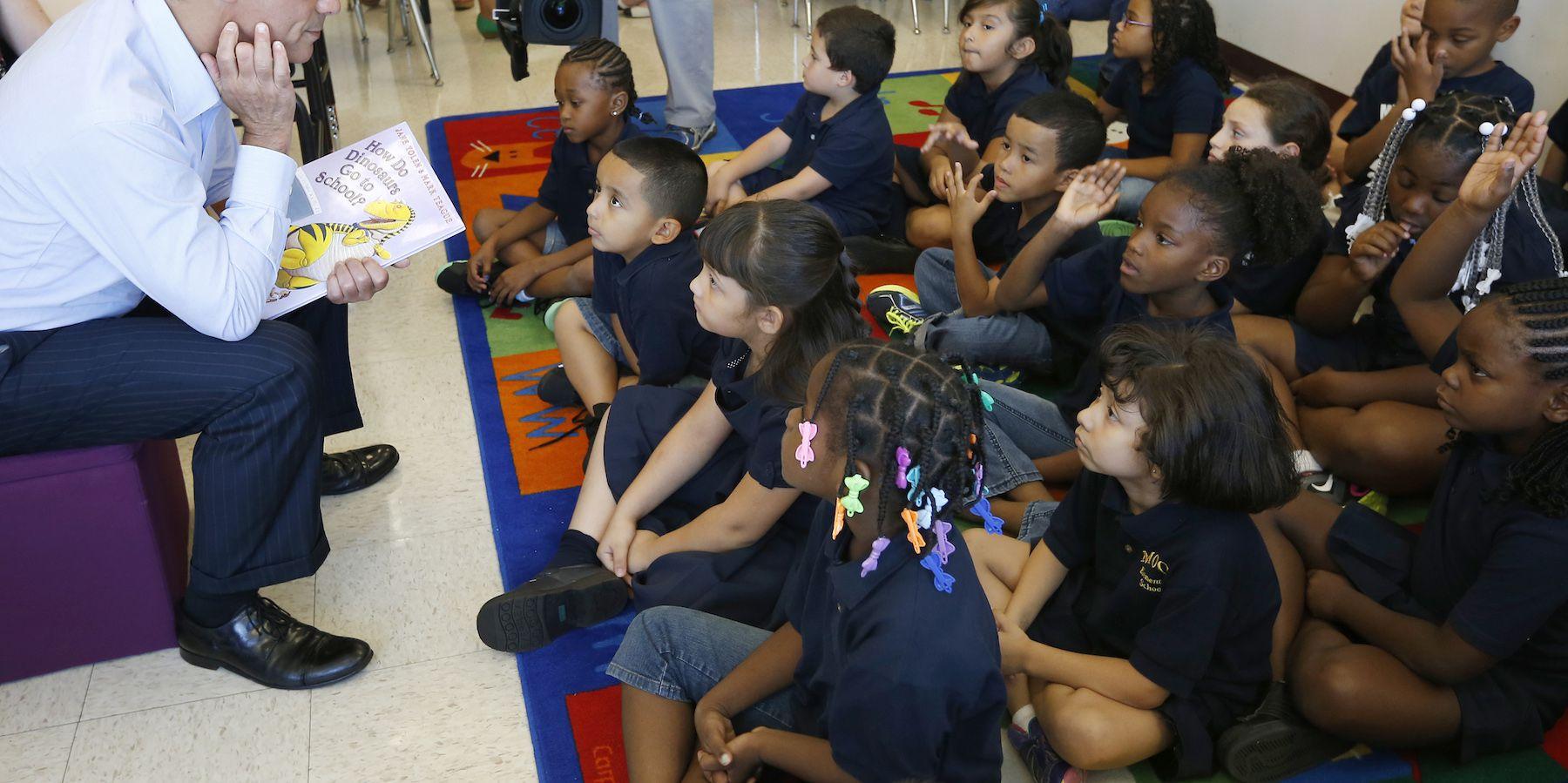 Emanuel speaks to children in a grade one class at Bernhard Moos Elementary School in Chicago