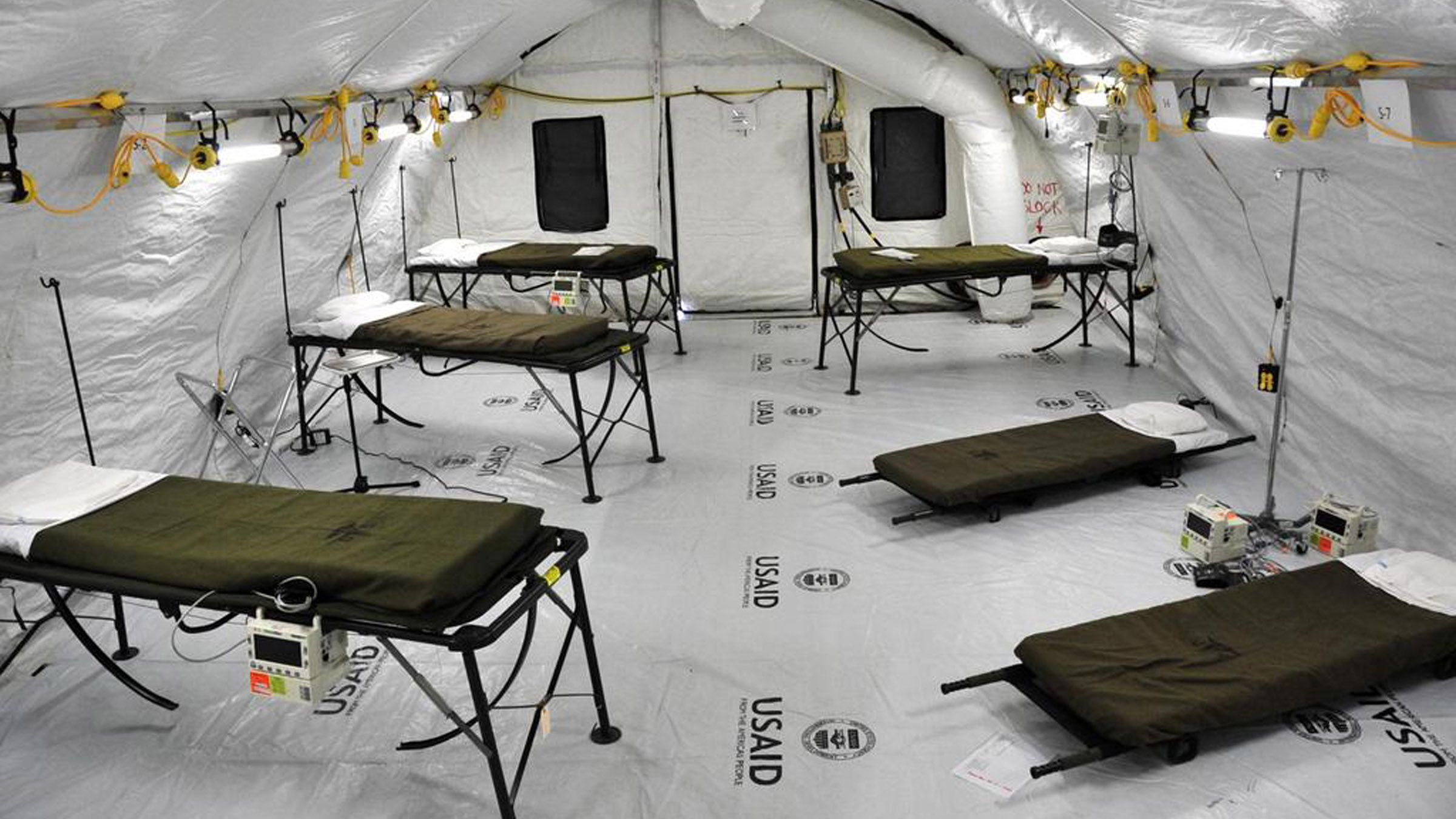 The ward of the Monrovia Medical Unit, which is an Ebola treatment facility specifically built for medical workers who become infected while caring for patients, is seen in a U.S. Army handout picture taken November 4, 2014. The ward is scheduled to open November 8 and will house patients who are Ebola symptomatic but are awaiting their lab work to return. Picture taken November 4, 2014.