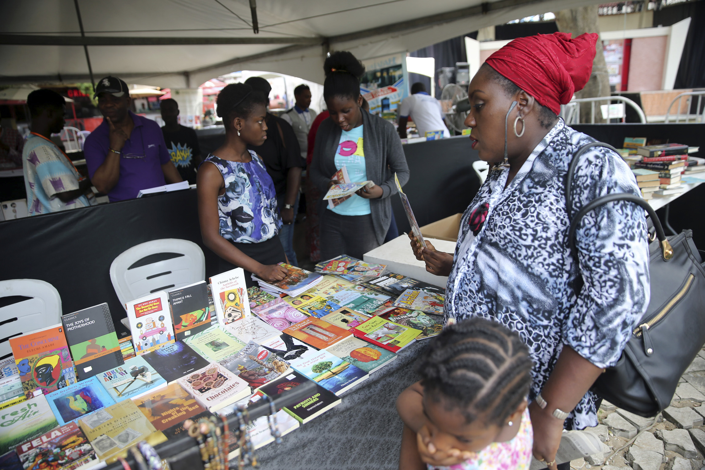 Books are displayed at the Lagos Book and Art Festival November 15, 2014.