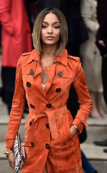 "Jourdan Dunn arrives for the Burberry Prorsum Autumn/Winter 2015 show during ""London Collections: Men"" in London January 12, 2015. ""London Collections: Men"" is a four-day showcase of men's fashion scheduled a month before London Fashion week."
