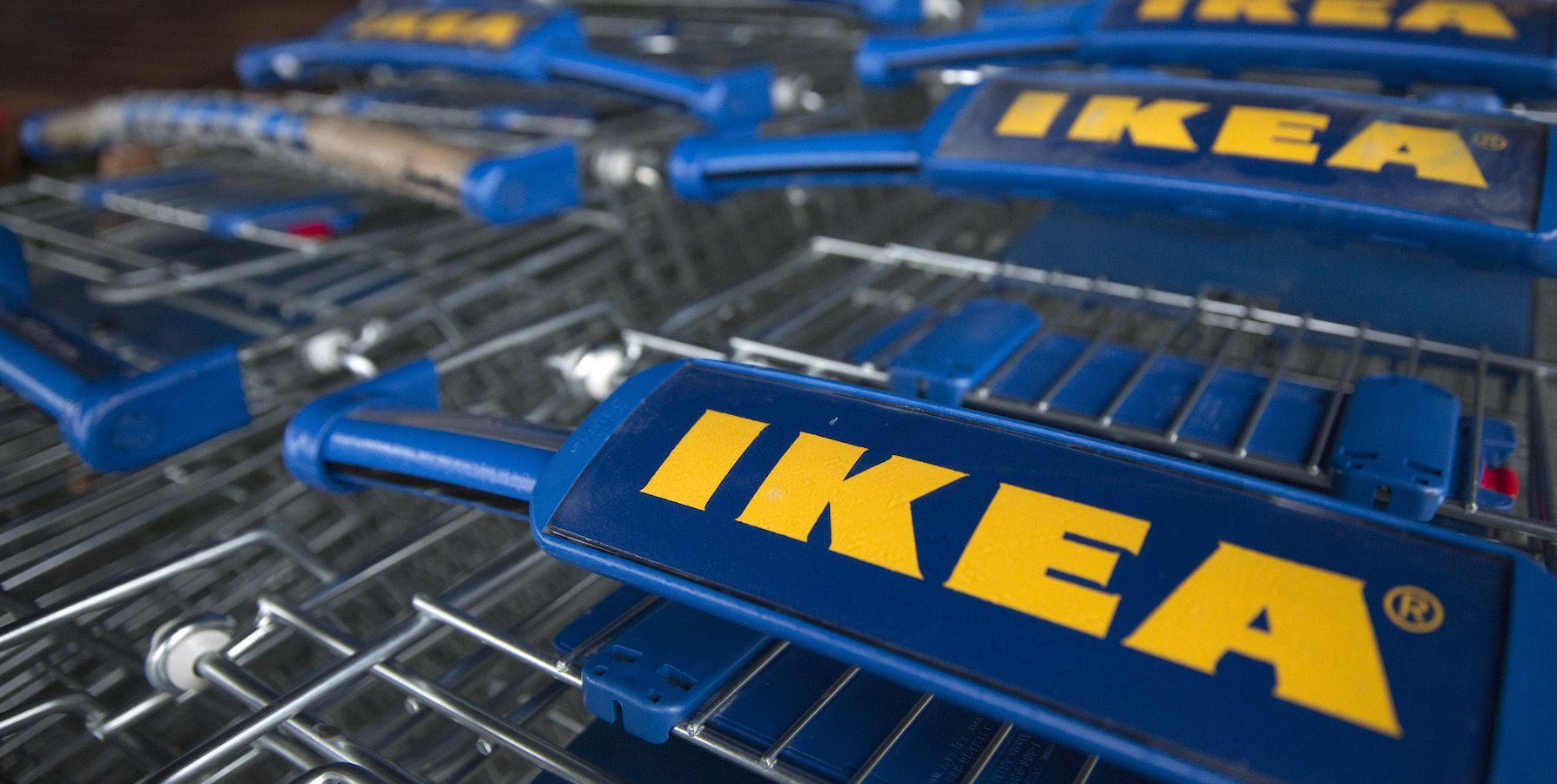 Trollies are seen outside an IKEA store in Wembley, north London