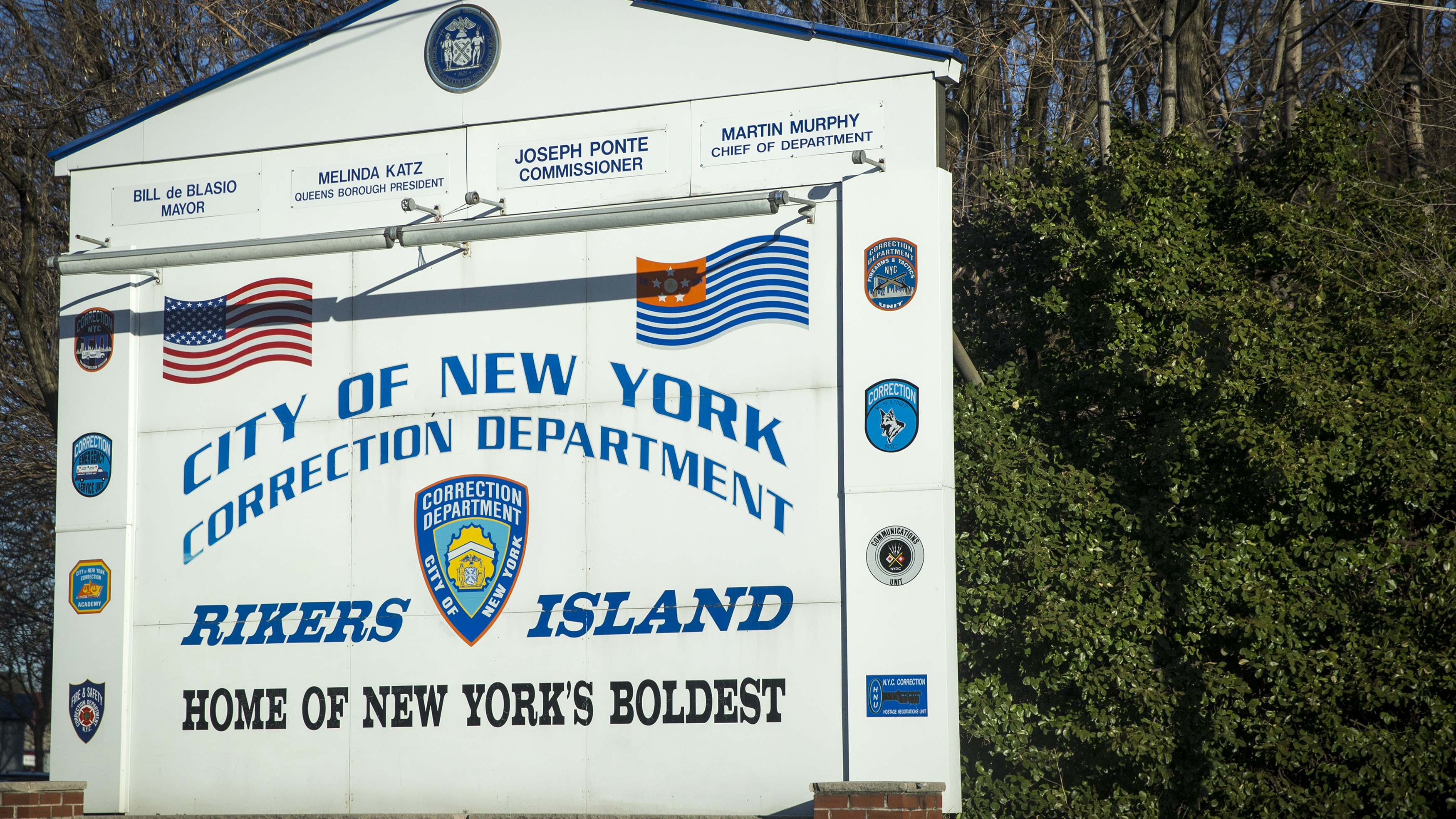 A car exits the Rikers Island Correctional facility in New York March 12, 2015.