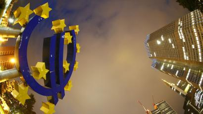 The euro sign landmark is seen at the headquarters of the European Central Bank in Frankfurt .