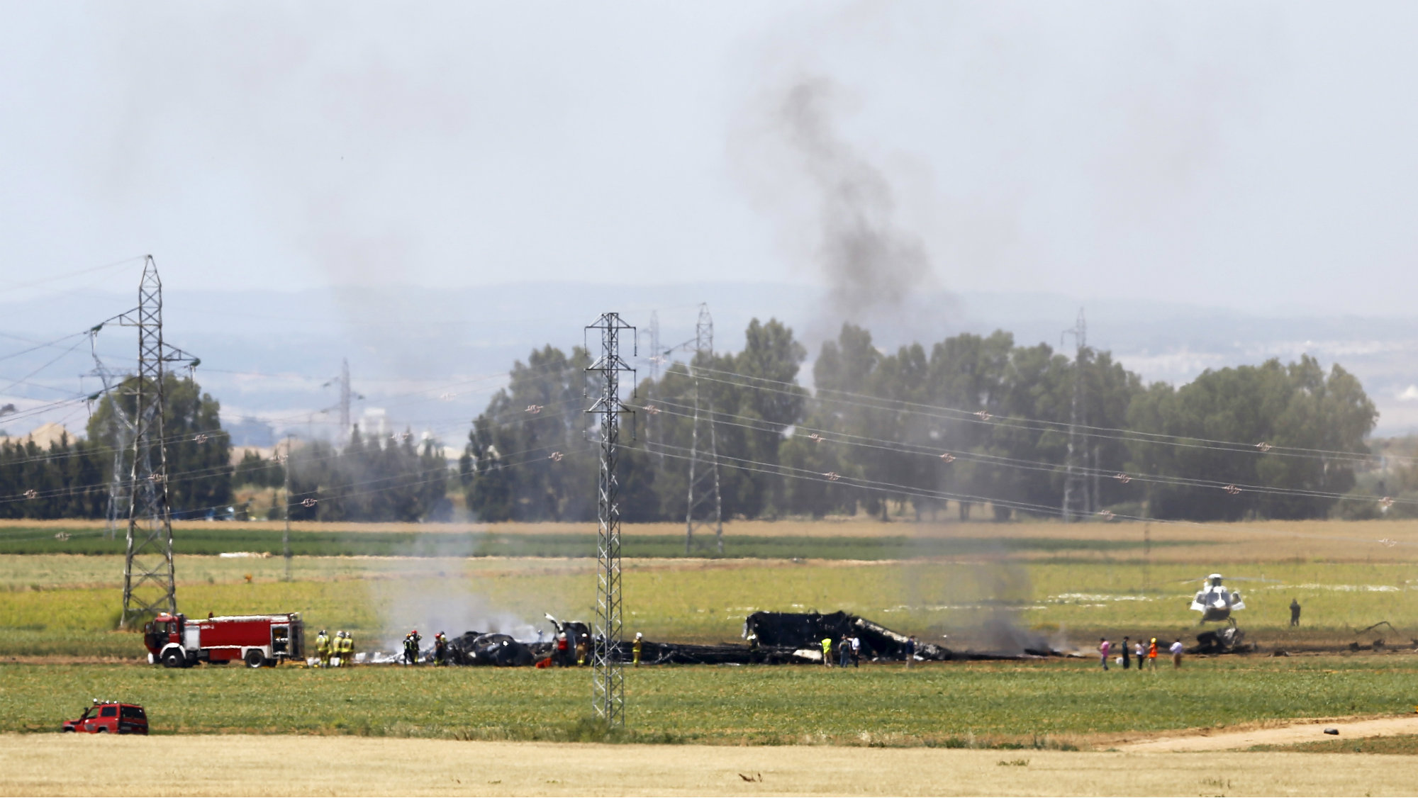 The remains of an Airbus A400M after crashing in a field near Seville on May 9.