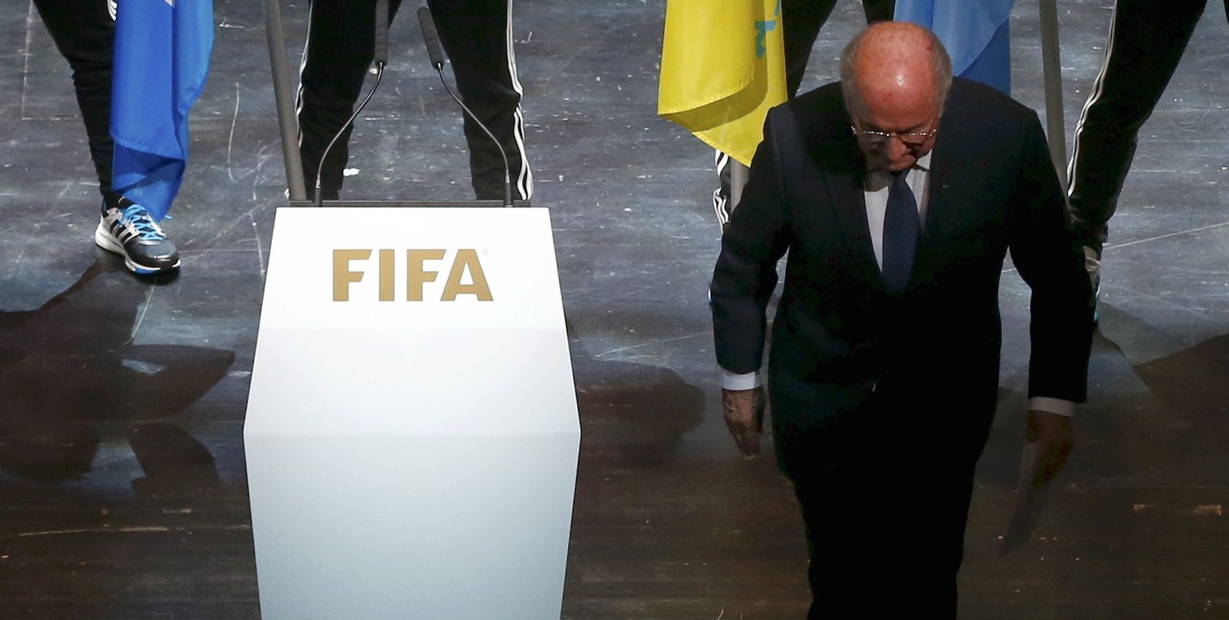 FIFA President Sepp Blatter leaves the stage after making a speech during the opening ceremony of the 65th FIFA Congress in Zurich, Switzerland, May 28, 2015. Blatter rejected an emotional plea to resign from one of the world's soccer greats on Thursday as the corruption scandal engulfing the game's governing body drew warnings from sponsors and political leaders. REUTERS/Arnd Wiegmann TPX IMAGES OF THE DAY - RTX1EZ5Q