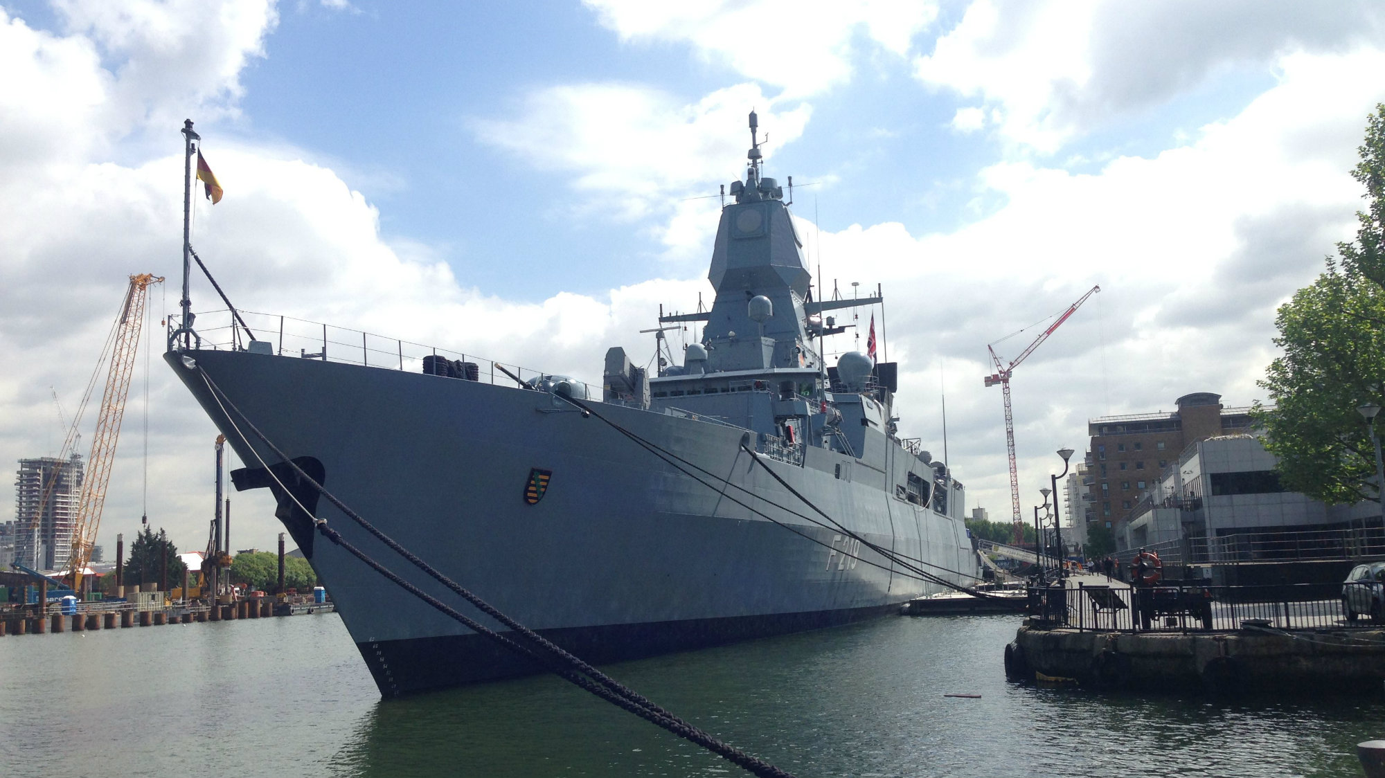 The Sachsen class frigate F129, also called Sachsen, berthed in London's Canary Wharf district.