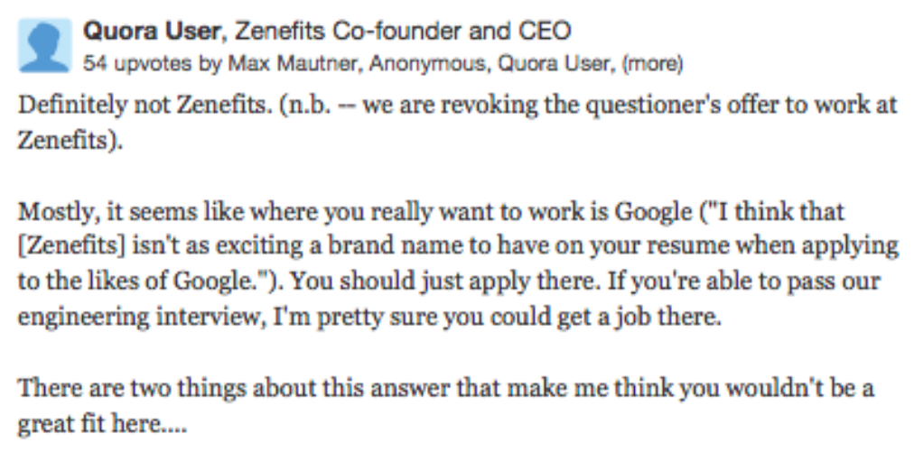 Engineer asks Quora which job offer to take. CEO replies: not ours ...