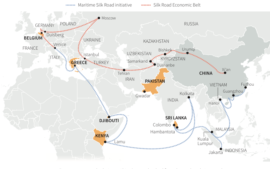 Map showing the planned Maritime Silk Road route and Silk Road Economic Belt.