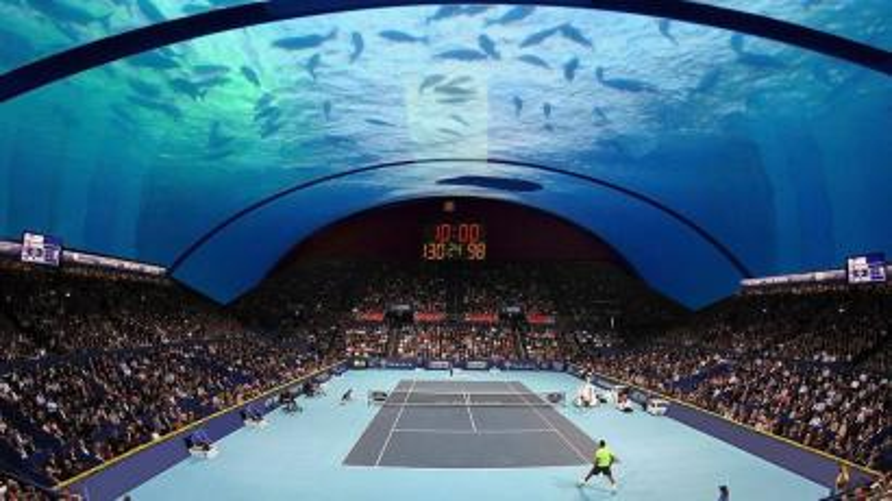 Underwater tennis court architect's rendering.