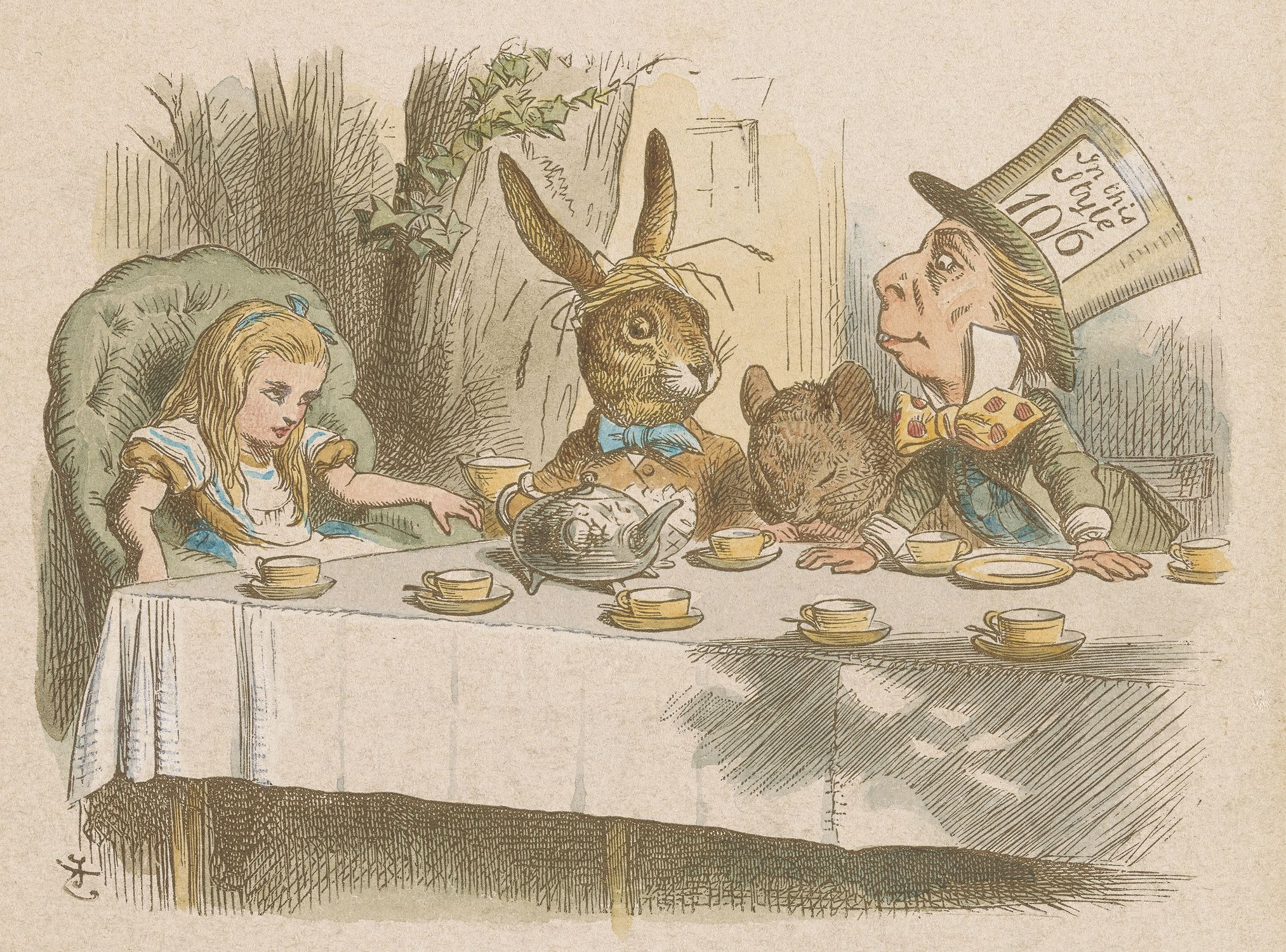 """John Tenniel (1820–1914), """" , Why is a raven like a writing-desk?"""" (The Mad Tea Party), 1885 Hand-colored proof. Gift of Arthur A. Houghton, Jr., The Morgan Library & Museum, Photography by Steven H. Crossot, 2014."""