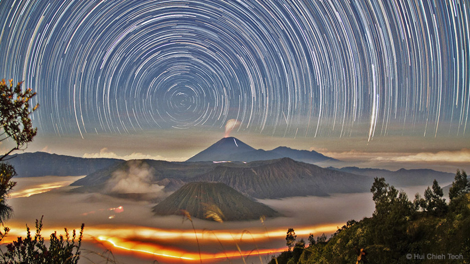 Volcanos and stars in East Java, Indonesia
