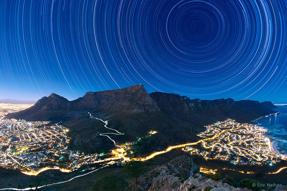 Star trails over Cape Town, South Africa.
