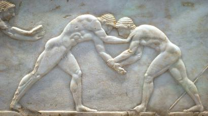 A marble sculpture of ancient Greek wrestlers from 510 BC is part of an exhibition at the National Archaeological Museum in Athens.