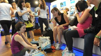 Beauty and mommy bloggers at the SKECHERS Shape-ups store on Fifth Avenue get ready for a fitness walk through the streets of New York, Friday, Aug. 6, 2010, to experience the benefits of Shape-ups – the sneakers that provide a fun and easy way to tone and improve strength and posture.