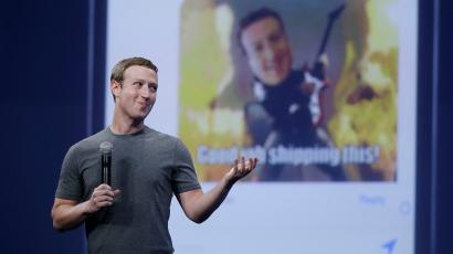 Facebook CEO Mark Zuckerberg speaking at Facebook keynote