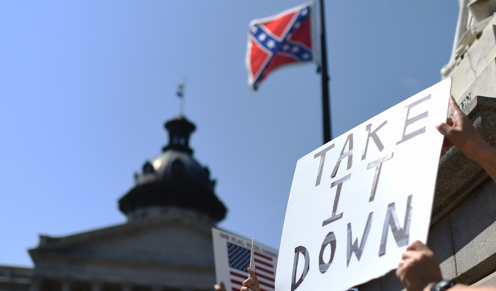 Protesting against the Confederate flag in South Carolina