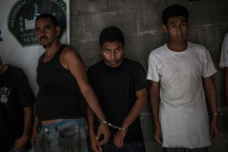 Alleged members of the 18th Street gang in a police station in San Salvador
