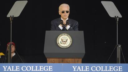 Vice President Joe Biden delivers the Class Day Address at Yale University, Sunday, May 17, 2015, in New Haven, Conn. Biden urged graduating students to question the judgment of others, but not their motives to build consensus.