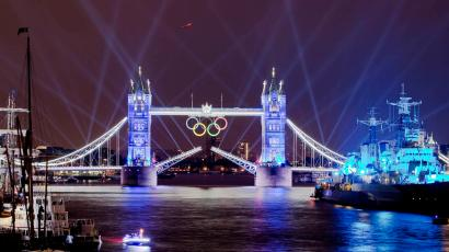 The London Bridge lit up for the 2012 Olympics